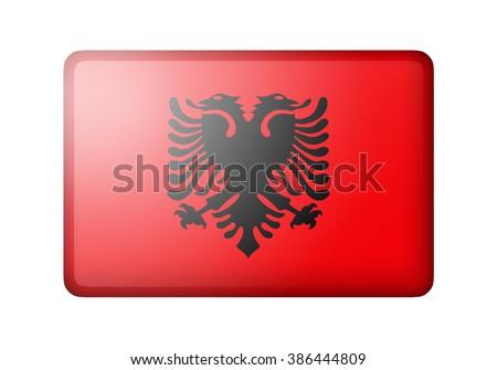 The Albanian flag. Rectangular matte icon. Isolated on white background. - stock photo