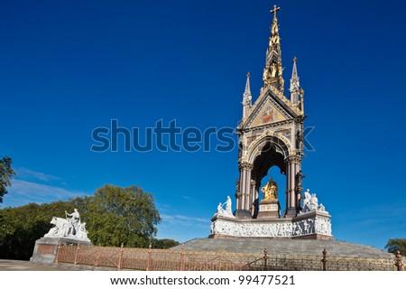 The Albert Memorial in Kensington Gardens, London, England - stock photo