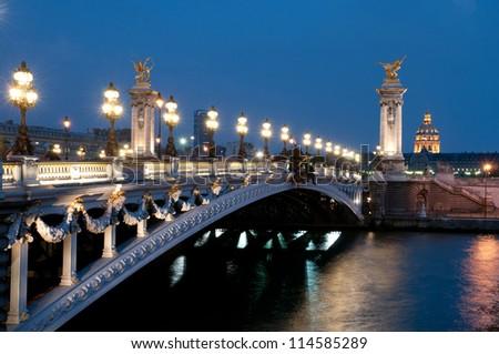 The Alexander III Bridge across  Seine in Paris, France. - stock photo