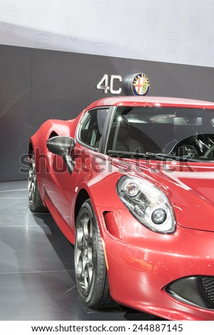 The 2016 Alfa Romeo 4C Spider at The North American International Auto Show January 13, 2015 in Detroit, Michigan. - stock photo