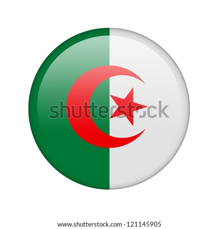 The Algerian flag in the form of a glossy icon. - stock photo