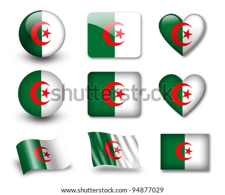 The Algerian flag - set of icons and flags. glossy and matte on a white background. - stock photo