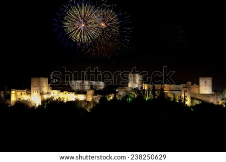 The Alhambra at night with fireworks - stock photo