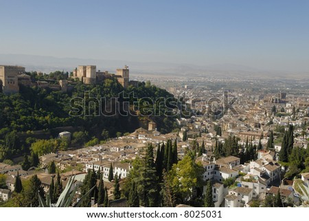 The Alhambra in Granada Spain seen from the old city. The Alhambra is an UNESCO World Heritage site - stock photo