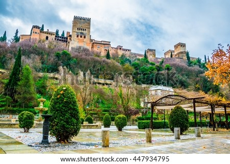 The Alhambra is a palace and fortress complex located on the left bank of the river Darro in Granada, Andalusia, Spain - stock photo