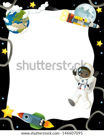 The aliens subject - ufo - star - kindergarten - menu - screen - space for text - happy and funny mood - illustration for the children, XXL file - stock photo