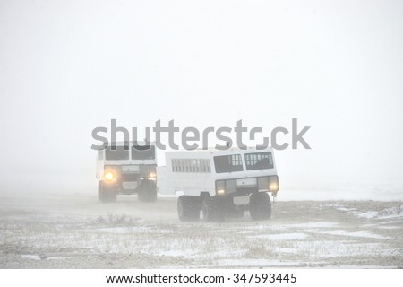 The all-terrain vehicle for snow trips to a snow blizzard in the tundra. Special car for the Arctic safari. Canada. Churchill National Park.   - stock photo