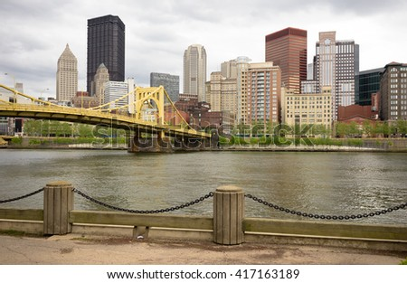 The Allegheny River goes by the amazing city of Pittsburgh - stock photo
