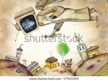 The Allegory of the totalitarian television - stock photo