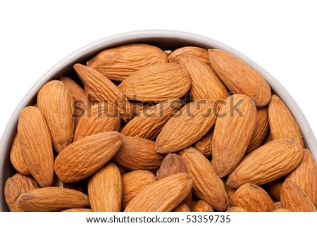 the almonds on white background