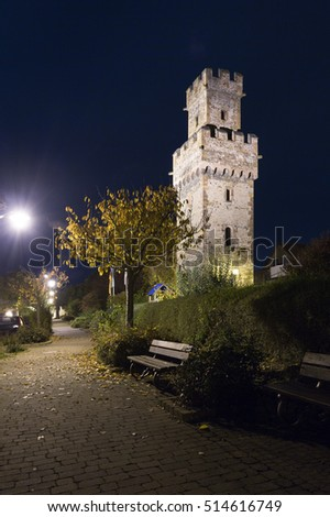 The Almosenturm in Obernburg am Main / Germany at night