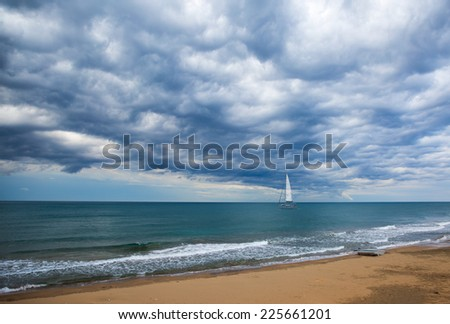 the along vessel in dramatic sky landscape  - stock photo