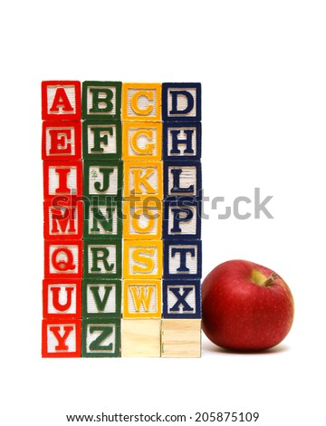 The alphabet from a to z carved out of wood. - stock photo