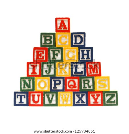 The alphabet in order from top to bottom for easy learning at a young age. - stock photo