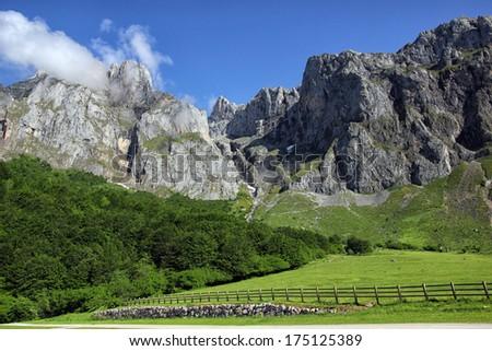 The alpine mountain tops of Picos De Europa, Cantabrian Mountains, Spain.  - stock photo