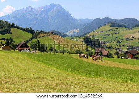 The Alps mountains in Switzerland on Mount Stastenhorn near Lucerne showing town and green pasture valley - stock photo