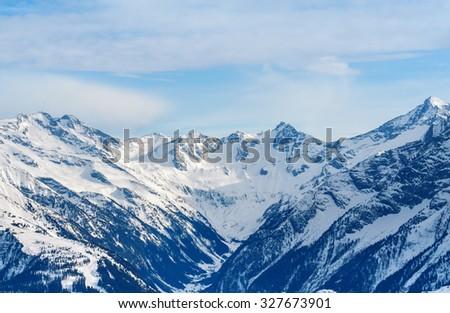 The Alps winter mountain landscape - stock photo