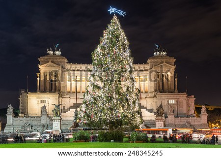 The Altar of the Fatherland at Christmas in Rome, Italy - stock photo