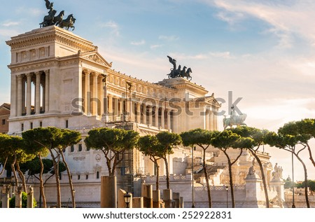 "The Altare della Patria also known as National Monument to Victor Emmanuel II or ""Il Vittoriano"" in Rome. It is a monument built in honour of the first king of a unified Italy. - stock photo"