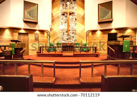 The alter of a church. - stock photo