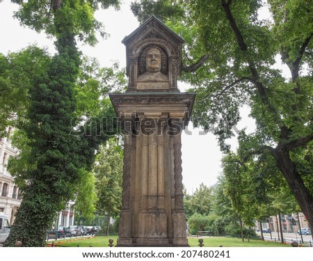 The Altes Bach Denkmak meaning Bach old monument close to the St Thomas Church is the world oldest monument to Johann Sebastian Bach  - stock photo