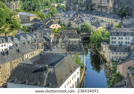 the Alzette valley in Luxembourg-City, Europe - stock photo