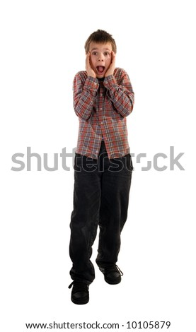 The amazed boy. It is isolated on a white background.