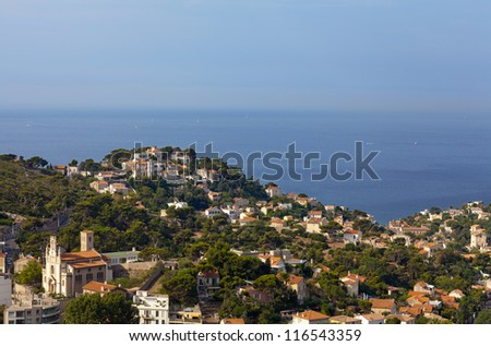 the amazing areal view on Marseille from mountain where is churc - stock photo