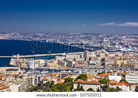 the amazing areal view on Marseille from mountain where is church od Notre Dame de la Guarde , France - stock photo