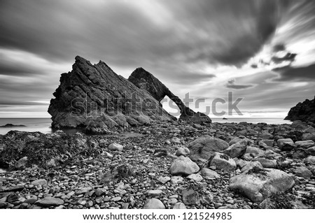 The amazing Bow fiddle rock, rock formation off the north coast of Scotland