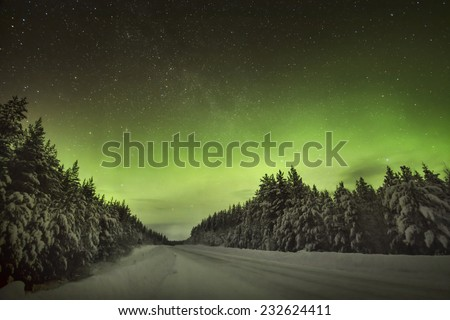 The amazing bright green Northern Lights of the Aurora Borealis - stock photo