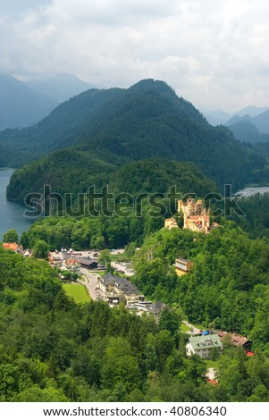 The amazing Hohenschwangau castle in Bavaria, Germany - stock photo