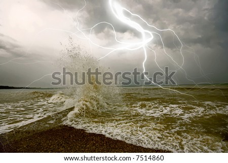 the amazing lighting storm landcscape. - stock photo