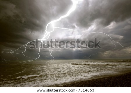 the amazing lighting storm landcscape - stock photo