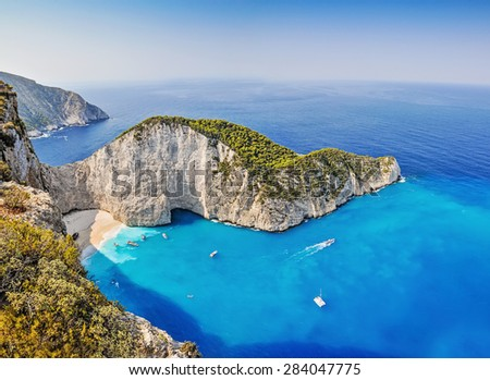 The amazing Navagio beach in Zante, Greece, with the famous wrecked ship - stock photo