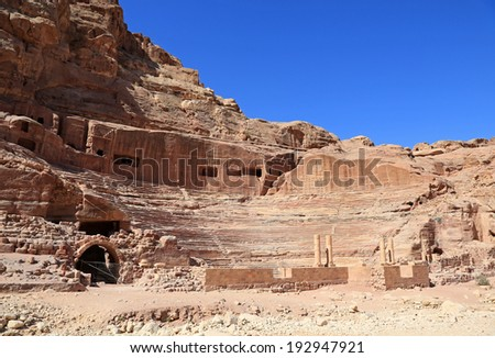 The amazing ruins of the amphitheater in Petra, Jordan - stock photo