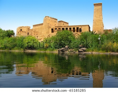 The amazing Temple of Isis at Philae island in Lake Nasser, seen from a boat. Located at 11 km of Aswan, Egypt