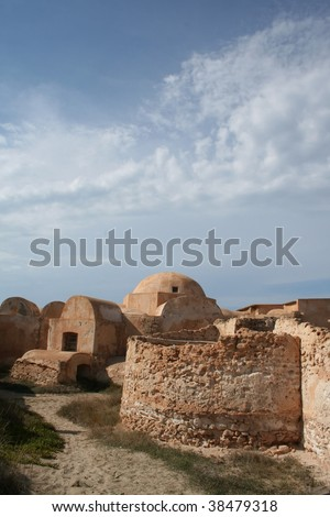 The amazingly preserved domestic Roman Villa Sileen on the Mediterranean coast of Libya, east of Tripoli. - stock photo