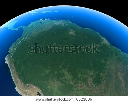The Amazon as seen from space - stock photo