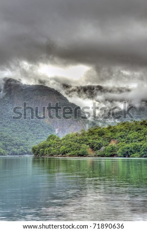 The Amazon River before a Tropical Storm - stock photo