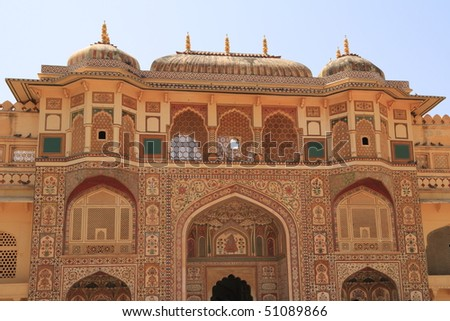 The Amber Fort is located in Amber, 11 km from Jaipur, Rajasthan state, India - stock photo