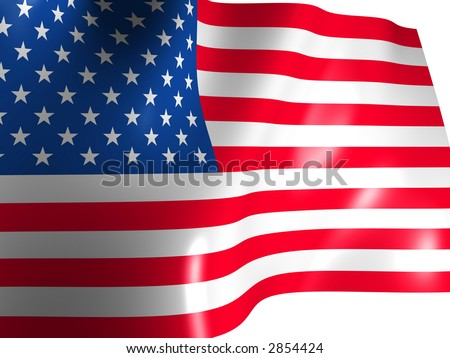 The American flag. 3d
