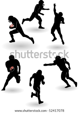 the american football silhouettes set (vector version in portfolio) - stock photo