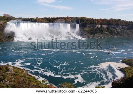 The American side of Niagara Falls, with the Maid of the Mist. - stock photo