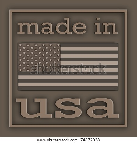 The American symbolics and inscription located on metal plate - stock photo
