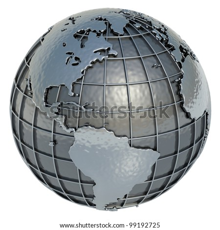 The Americas. The Planet Earth made of metal on a white background. - stock photo