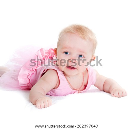 The amusing kid on a white background