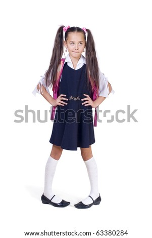 The amusing schoolgirl has reflected. A white background