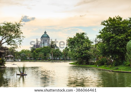 The Ananta Samakhom Throne Hall from Dusit Zoo's point of view, Bangkok, Thailand.