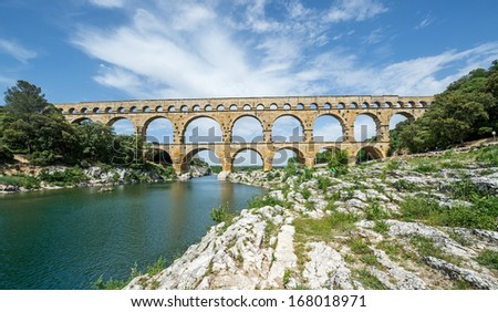 "The ancient aquecuct ""Pont du Gard"" in France"